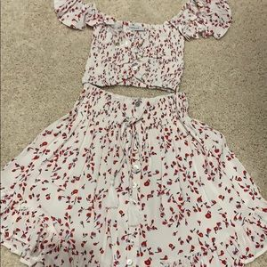 Red white blue floral two piece set